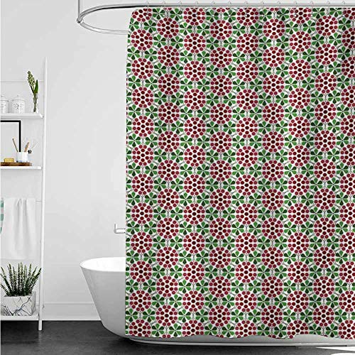 home1love Bath Shower Curtain,Nature Minimalist Fruit Pattern in Abstract Style Cranberries with Green Leaves,Bathroom Curtain Washable Polyester,W36x72L,Ruby Dried Rose Green