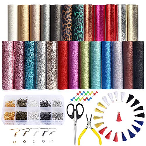 (25 PCS A5 Size Faux Leather Sheets, 5 Styles Synthetic Leather Sheets (Super Shiny& Glitter& Pearlized& Metallic& Leopard Printed) with Earring Hooks, Tassel Hoop for Earring Making Crafts)