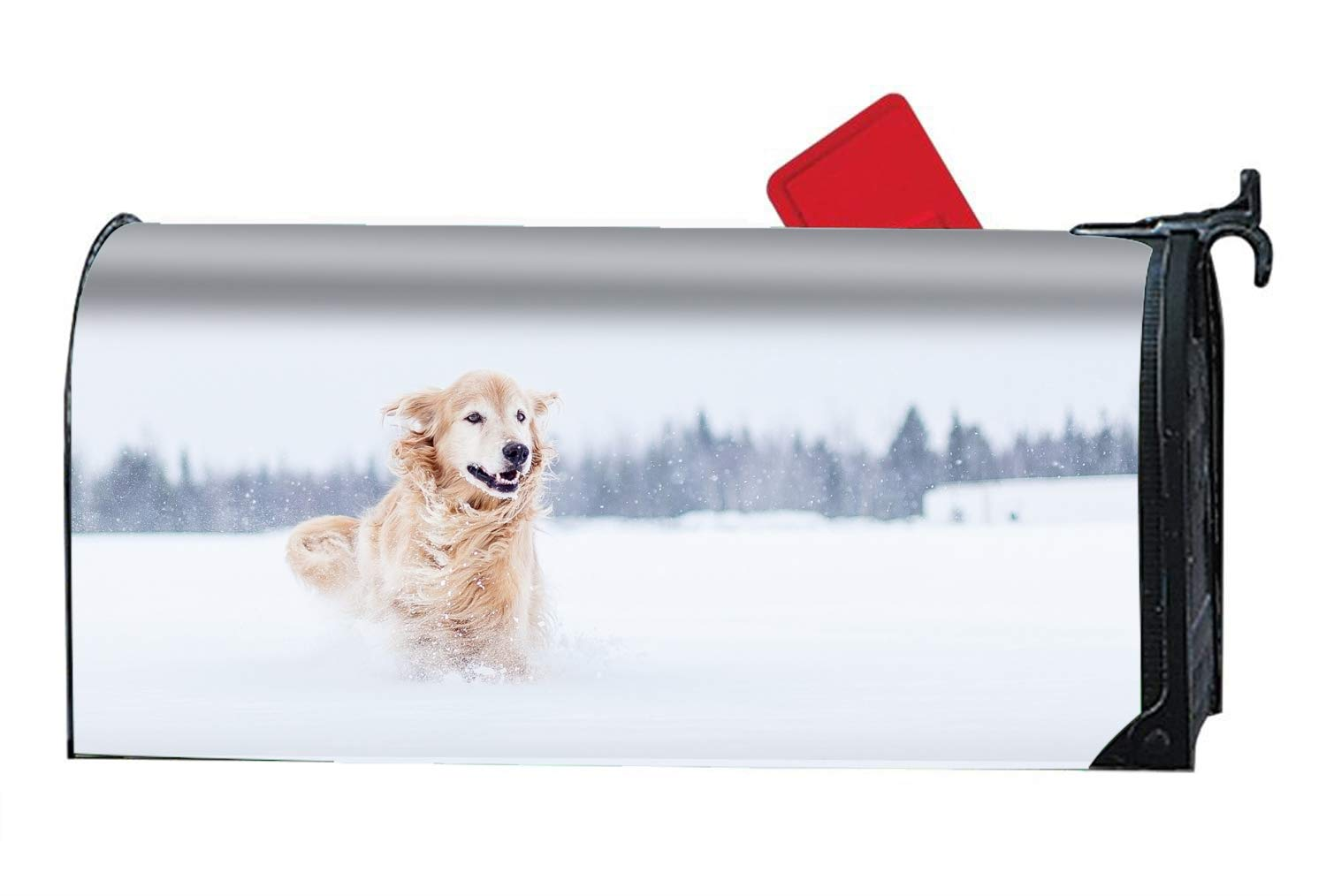 Verna Christopher 9X21 Magnetic Mailbox Cover Standard Mailbox Wrap with Snow Dog Design