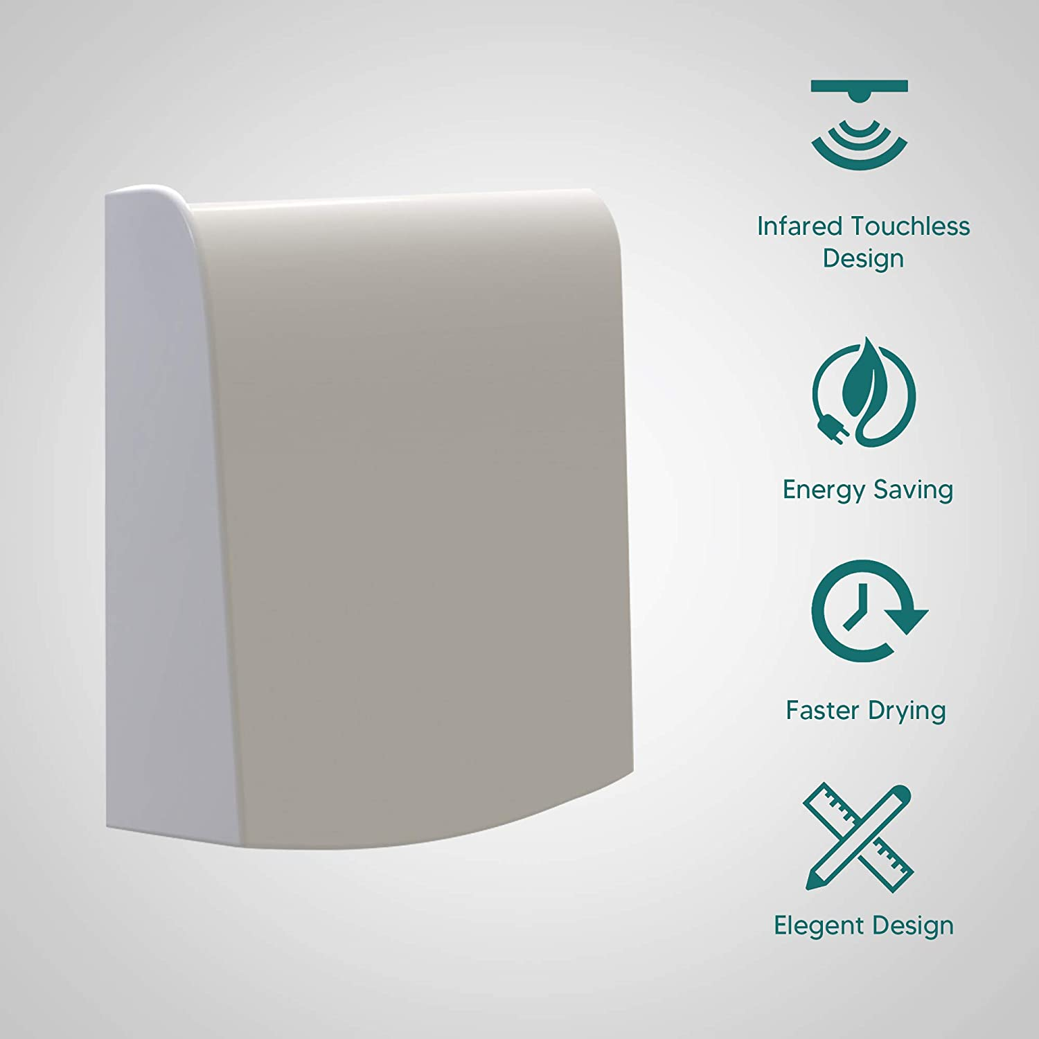 High Speed Compact Bathroom Hand Dryer for Public Restrooms Commercial and Household Victories Hand Dryer with HEPA Filter Ultra-Thin and Quiet Design Materials Energy-Saving Design