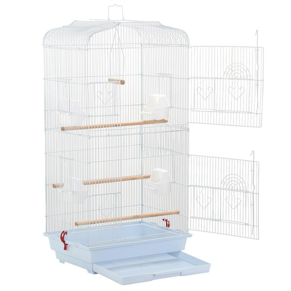 Yaheetech Large Metal Bird Cage W/2 Front Doors/4 Side Doors/4 Feeders/3 Perches/Pull-out Tray for Budgie Parrot Canary Cockatiel, 18x14x36'' White