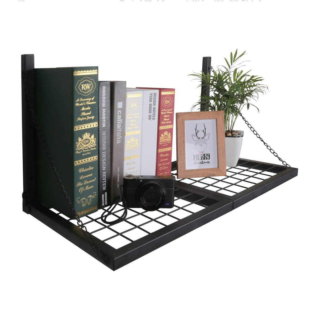 OROPY Pot Pan Hanging Rack Wall Mounted Industrial Foldable Wall Shelf with 6 S Hooks, Ideal for Utensils, Books, Plants 23.6''/L X 11.8''/W (Black) by OROPY (Image #4)