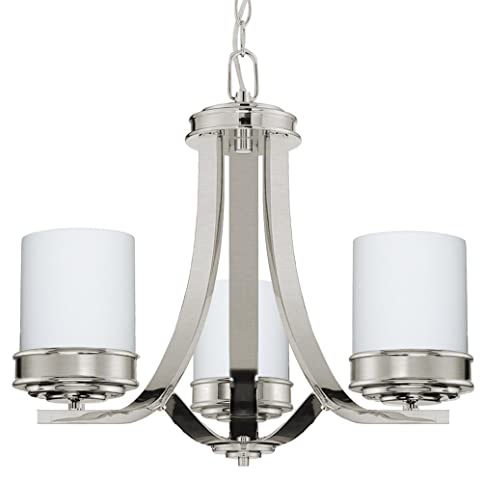 Langdon mills lighting abbey brushed nickel 3 light chandelier white opal glass shades 19