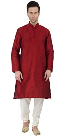 4a8393334388 Mens Kurta Pyjama Red Long Sleeve Button Down Shirt Dress Style Indian  Wedding Dress Party Wear -L  Amazon.co.uk  Clothing