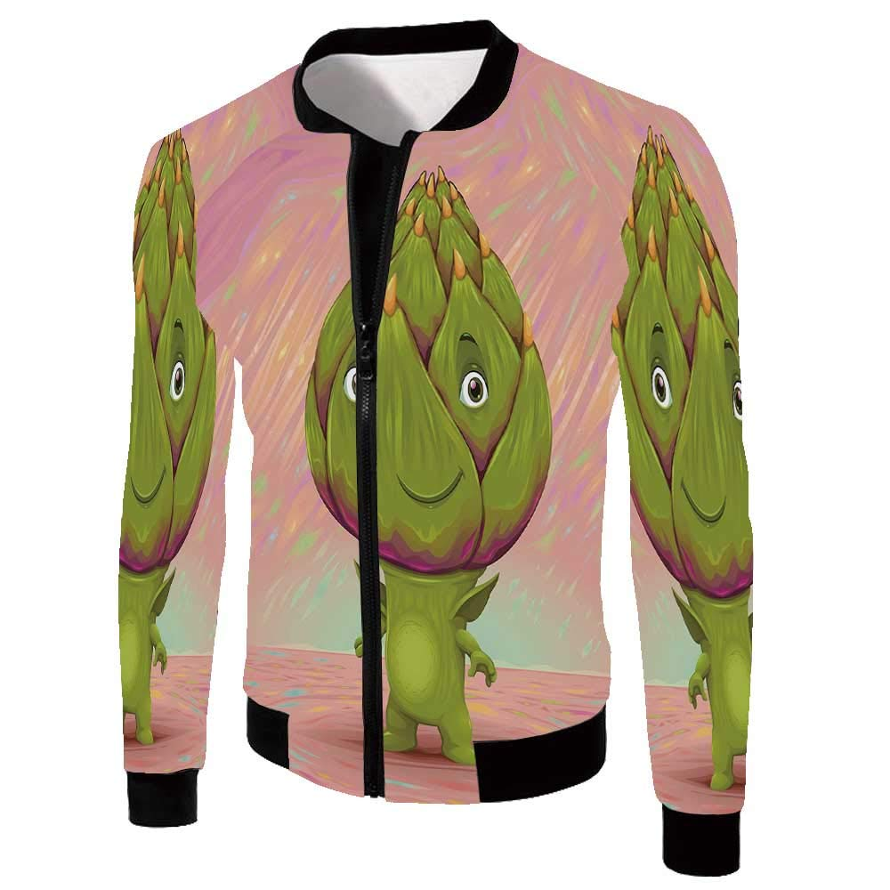 Artichoke Stylish Jackets,Cute Artichoke Character with Little Hands and Feet Healthy Eating Mascot for Men,XXL