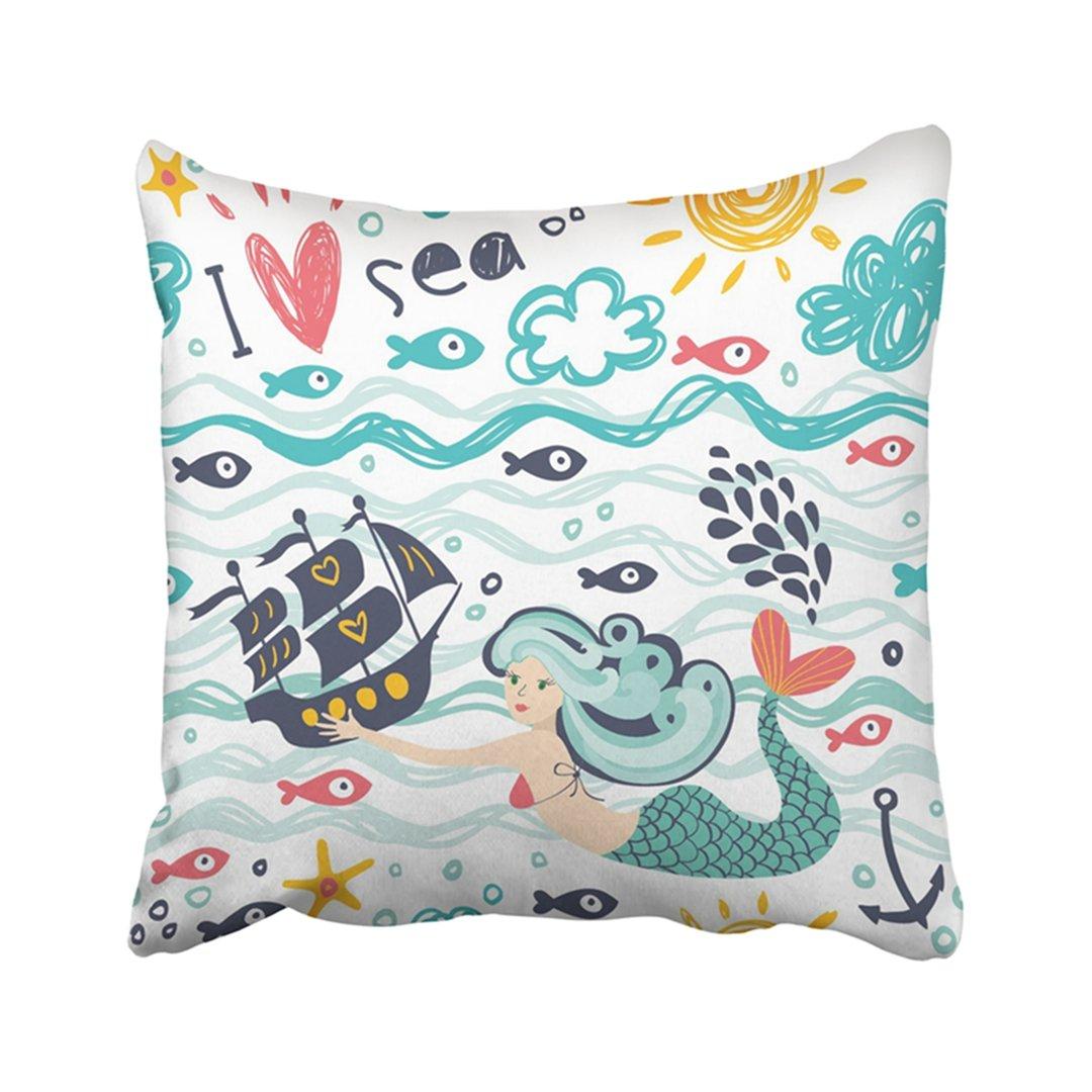 emvency 18 x 18インチ装飾用クッションカバーポリエステルベージュ抽象化I Love The Sea With Mermaid船と波ブルーアンカー美しいクラウドクッション2つサイド枕ケーススクエアホームのための印刷 B07CQKR9ZG