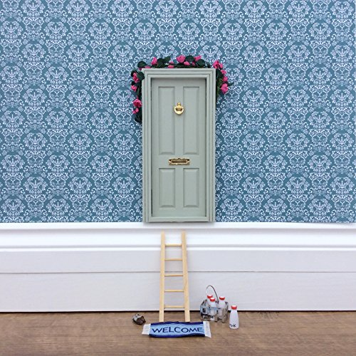 Fairy Door - Magical Little World's Best Sage Green Fairy Door kit with ladder and fairy door mat for your child's room - perfect for bringing fun, adventure and magic to your home - Tiny Door
