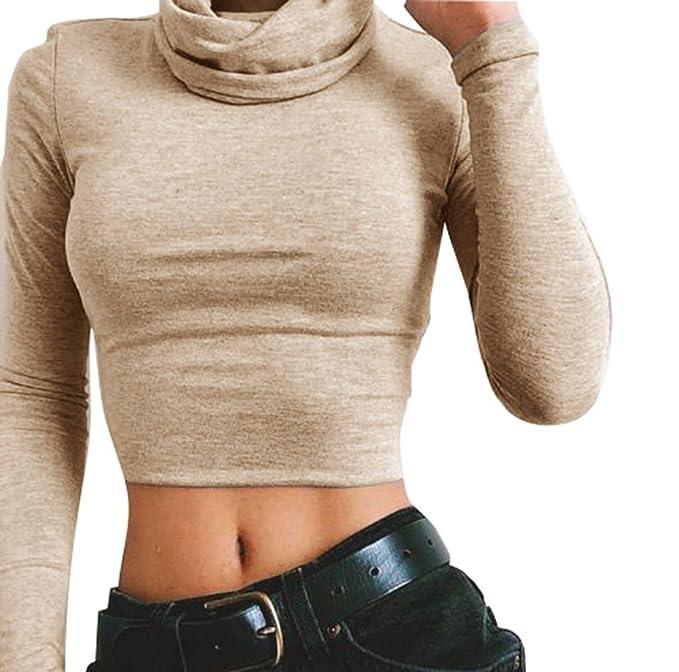 Yying Blusa Mujere Manga Larga - Camisa Sexy Corp Tops Tshirt Señoras Camiseta Cuello Alto Pullover