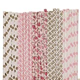 Pink and Gold Paper Straw Mix - Light Pink, Gold