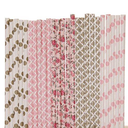 Pink and Gold Paper Straw Mix - Light Pink, Gold - Flower, Damask, Polka Dot ()