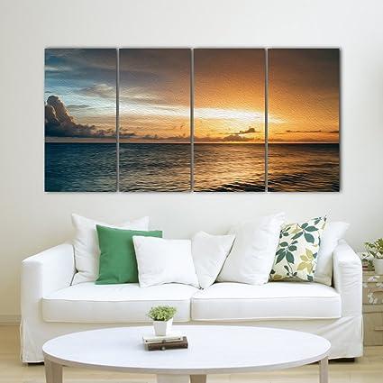 Agrakalpa Multiple Frames Ocean Sunrise Wall Painting (4ft X 2ft ...