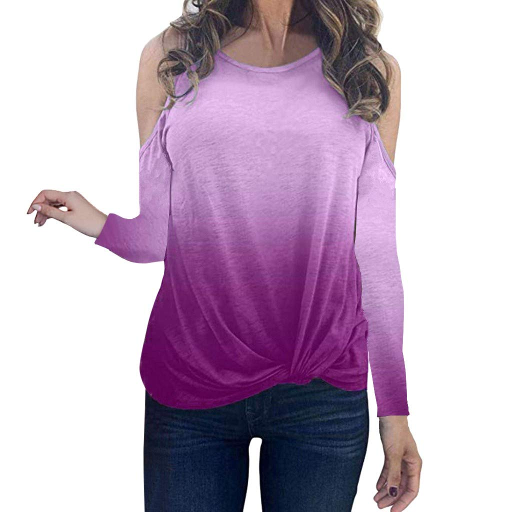 Oldlover✚Gradient Long Sleeve Round Neck Sweatshirt Casual Knotted Tops Blouses Fashion Cold Shoulder T-Shirts Pullovers Hot Pink by Oldlover-Women