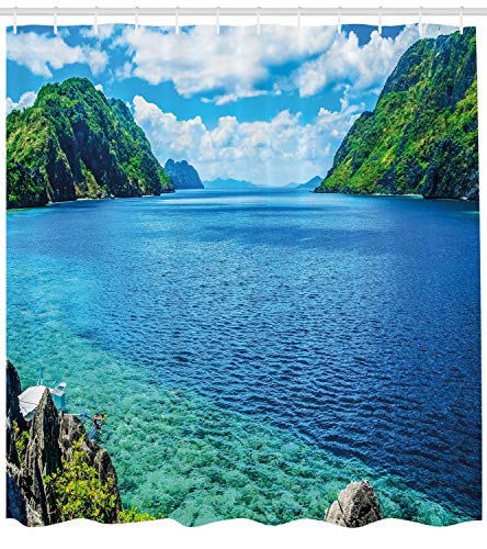 wer Curtain, Scenic View Sea Bay and Mountain Islands in Palawan Philippines Idyllic Image, Fabric Bathroom Decor Set with Hooks, 70 Inches, Blue Green White ()
