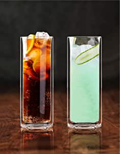 Sun's Tea Strong Double Wall Insulated Highball Tall Drinking Glasses for Bourbon or Whiskey Cocktail, Martini, Tropical Drink, Champagne, Beer | Mojito and Tom Collins Glasses -- Set of 2 (14 oz)