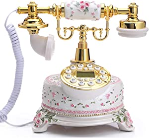 TelPal Home Telephone White Floral Home Phones Decorative Modern Landline Telephones Desktop Phone for Home Office Decor