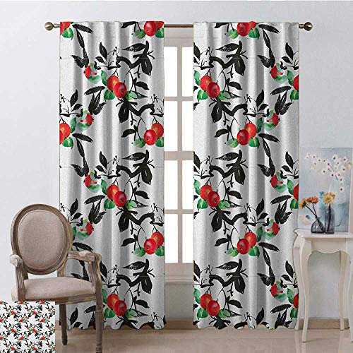 youpinnong Rowan, Party Curtains Decorations, Vivid Mountain Berries with Watercolor Doodle Shrubs Abstract Modern, Curtains Kids, W84 x L108 Inch, Dark Coral Green Black ()