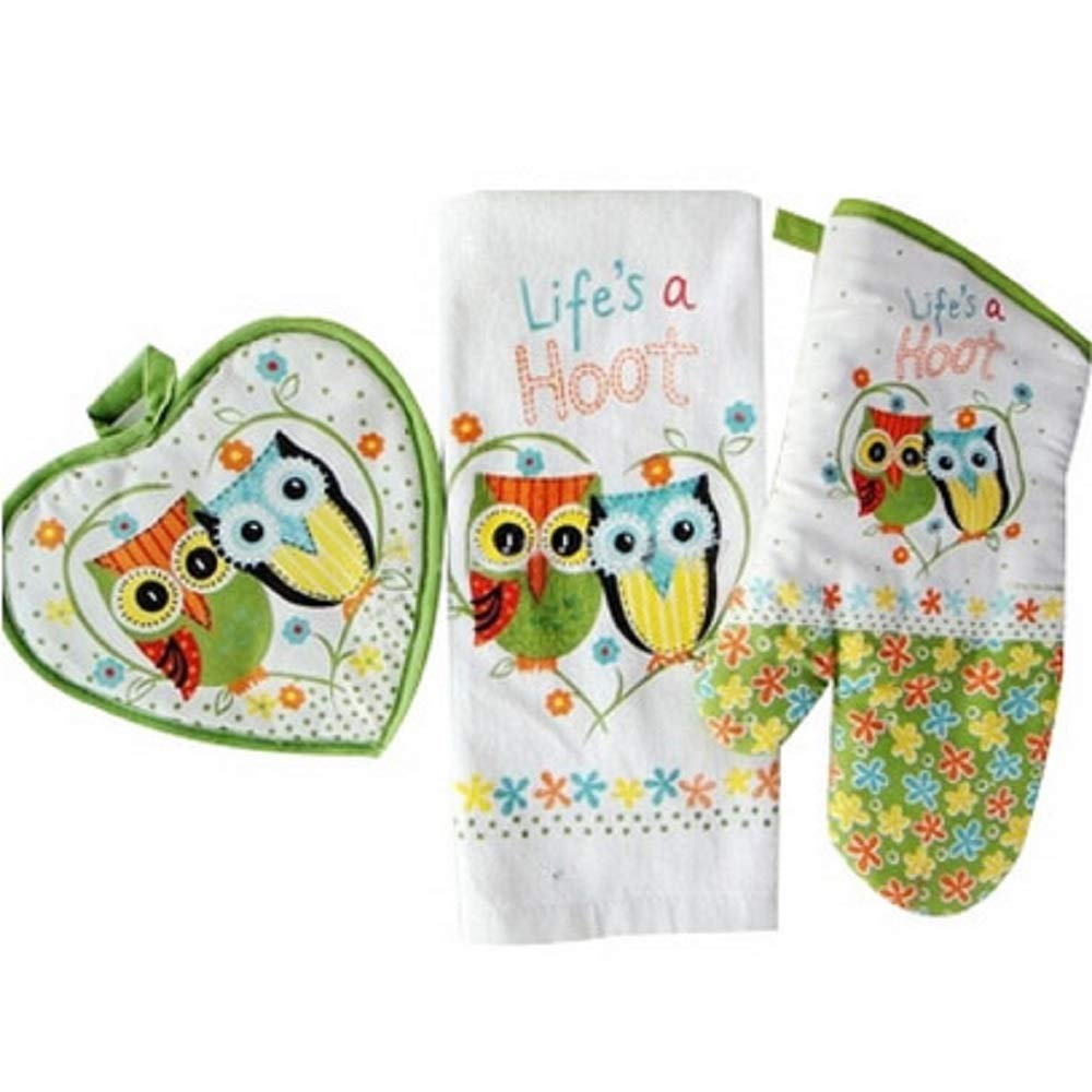 Oven mitt 3pcs/Set Cotton Owls Towel Insulating Mat Kitchen and Barbecue Accessories Life