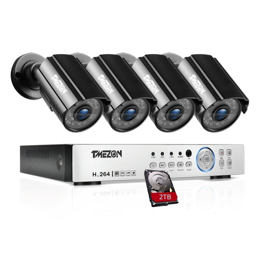 TMEZON AHD防犯カメラ4台セット 200万画素 赤外線LED24個 3.6MMレンズ&AHD レコーダー 2TB HDD付き(ブラック) B07BSFNF6D 4台カメラ+4CHレコーダーセット+2TB 4台カメラ+4CHレコーダーセット+2TB