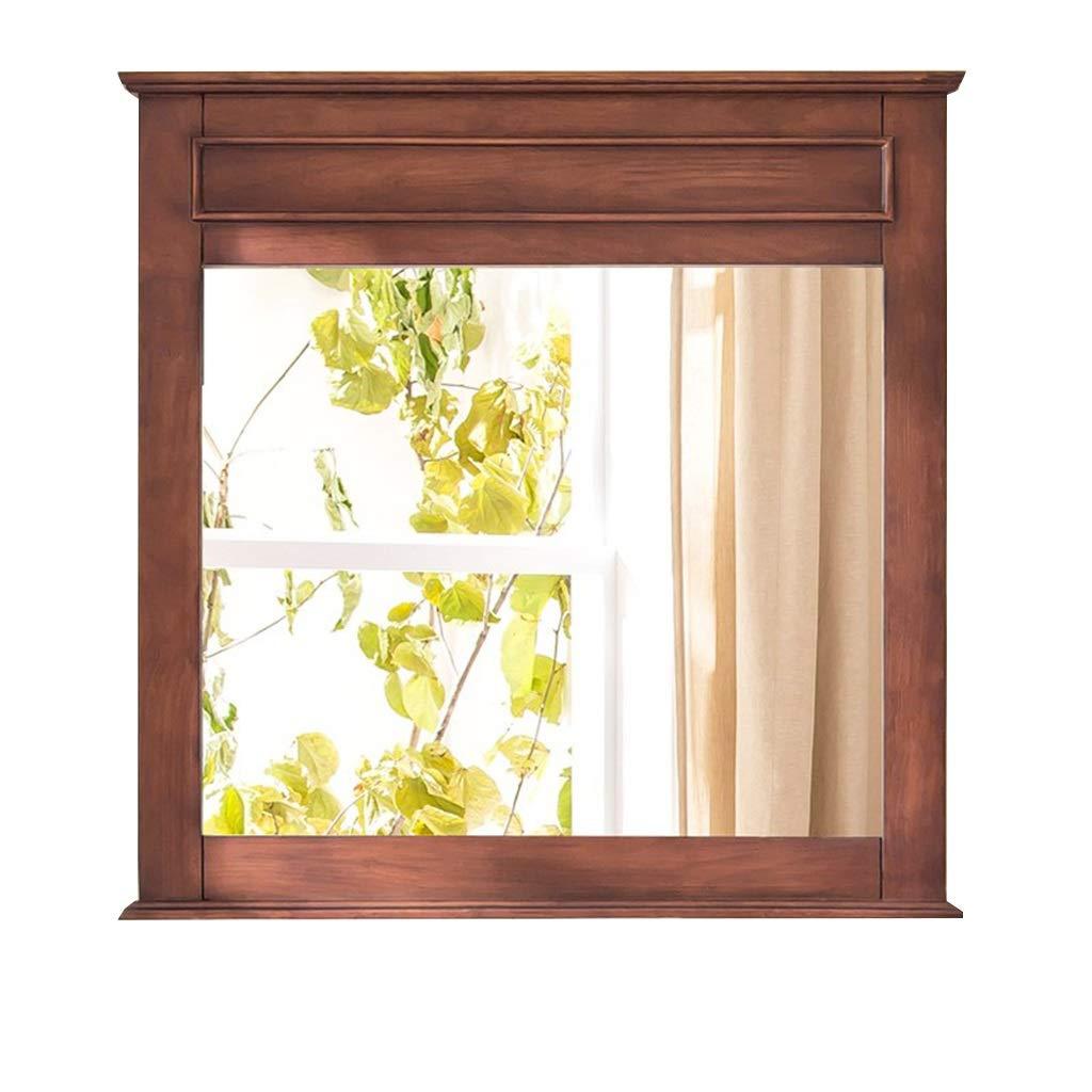 Selm 長方形吊り壁ミラー HD 木製化粧品ミラー 寝室、浴室および居間のための装飾的な掛かる虚栄心ミラー (色 : ブラウン ぶらうん) B07RRFYP76 ブラウン ぶらうん