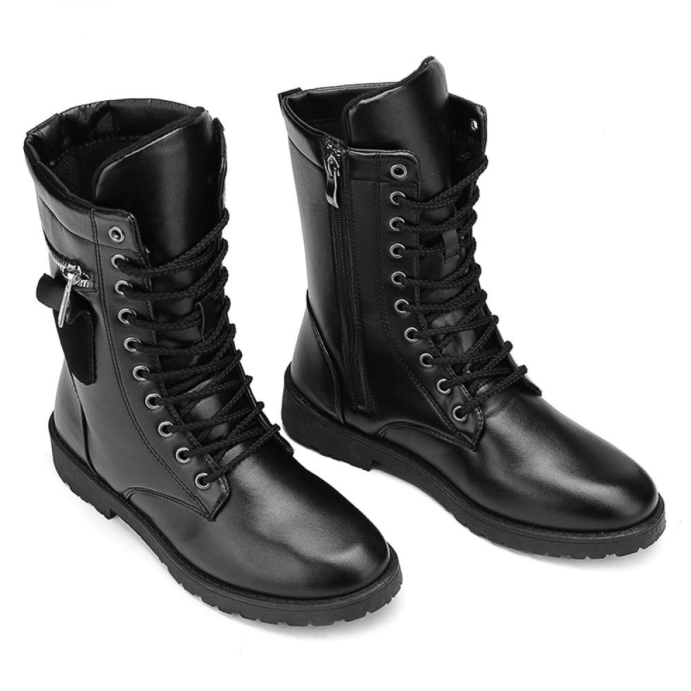 FHCGMX Motorradstiefel Männer Schuhe Herbst Winter Schuhe Militärischen Stil Mitte der Wade Stiefel PU Leder Reißverschluss Niedrigen Ferse