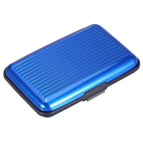 Mengshen Bloqueo RFID Tarjeta de crédito Wallet, Protector de Tarjetas de crédito para Viajes o Negocios, PX07 Azul