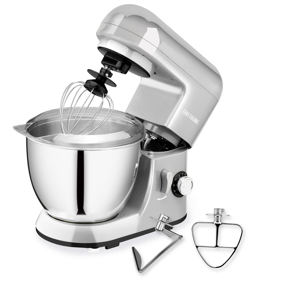 CHEFTRONIC Stand Mixer, Kitchen Mixer,Electric Mixer, 120V 350W, 6 Speeds, Tilt-Head,4.2 QT Stainless Steel Bowl with Splash Guard,Dough Hook,Wire Whip, Flat Beate SM985
