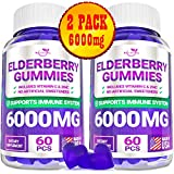 (2 Pack | 120 Gummies) Elderberry Gummies for Adults Kids Toddlers with Vitamin C & Zinc - Herbal Supplement for Immune Support, Skin Health - Powerful Antioxidant | Vegan - Made in USA