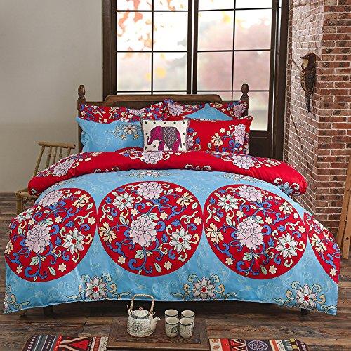 Vaulia Lightweight Polyester Microfiber Duvet Cover Set, Floral Printed Pattern Design - King Size