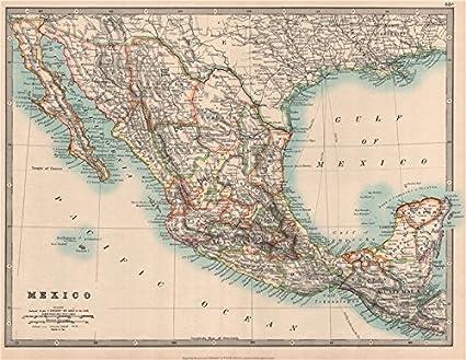 Honduras Mexico Map.Amazon Com Mexico Showing States Guatemala British Honduras