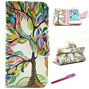 iPhone 6 Plus Case, Firefish [Kickstand] iPhone 6 Plus Wallet Case Bumper Slim PU Leather Card slots [Magnetic Closure] for Apple iPhone 6 Plus/6S Plus - Color Tree