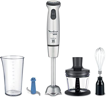 Oferta amazon: Moulinex Infiny Force Ultimate Cocktail DD87KD10 Batidora de mano con accesorios, 1000 W, 800 Ml, Acero Inoxidable, 25 Velocidades, Plateado