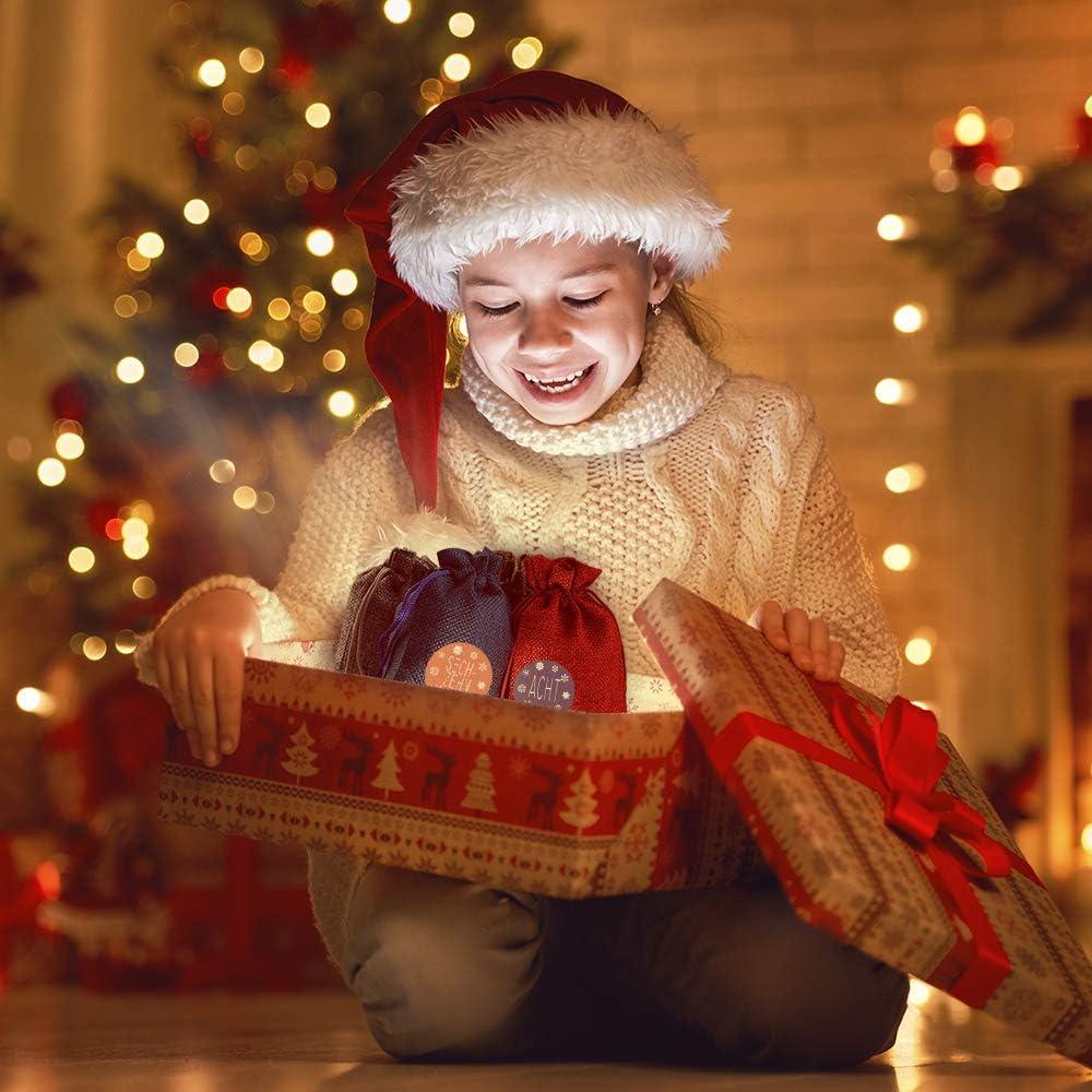 Weihnachten Adventskalender Selber Bef/üllen Weihnachten Geschenks/äckchen Kette zum Selber Bef/üllbar 4 Farben 24er Set f/ür Weihnachten Dekoration Hodec Adventskalender/zum/Bef/üllen