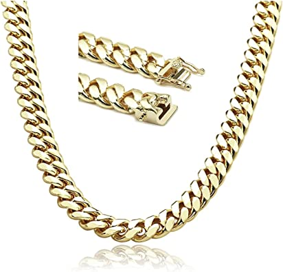 Mens Gold Chain Necklace 14mm Thick Miami Cuban Link 20x More 24k Plating Than Other Chains