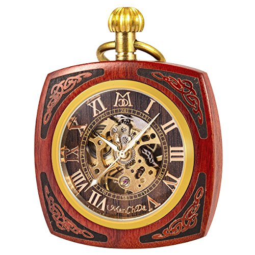 (ManChDa Steampunk Mechanical Hand Wind Skeleton Pocket Watch Roman Copper Wooden with Chain Gift Box)