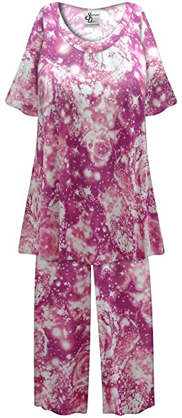Purple Galaxy Print Plus Size Poly/Cotton 2-PC Pajamas at ...