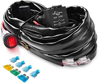 Amazon.com: MICTUNING HD+ 12 Gauge LED Light Bar Wiring Harness Kit with  60Amp Relay, 3 Free Fuse, On-off Waterproof Switch Red(2 Lead): AutomotiveAmazon.com