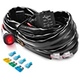 MICTUNING HD+ 12 Gauge LED Light Bar Wiring Harness Kit with 60Amp Relay, 3 Free Fuse, On-off Waterproof Switch Red(2…