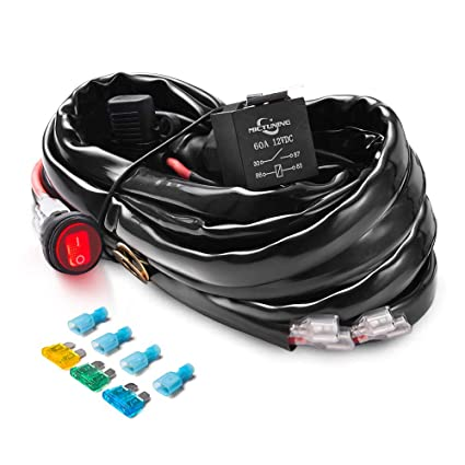 amazon com mictuning hd 12 gauge 600w led light bar wiring harness rh amazon com