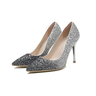 Schuhe spitze silber