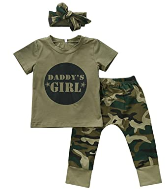 c43a2142cba Baby Boys Girls Letters Short Sleeve Tops Camouflage Pants Headband Outfits  Set Size 3-6Months