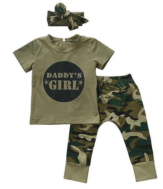 Amazon.com: lotucy bebé niños niñas letras manga corta Tops ...