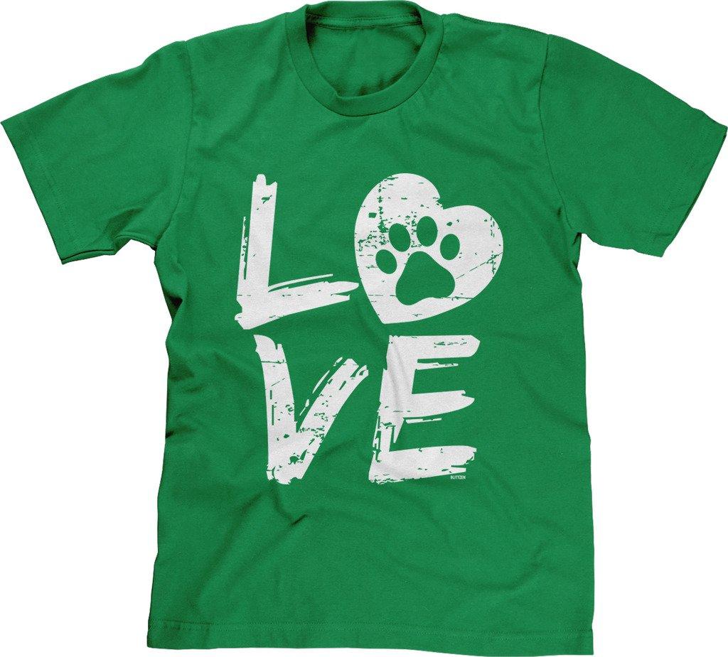 Blittzen Mens Love Paw Print In Heart, L, Green