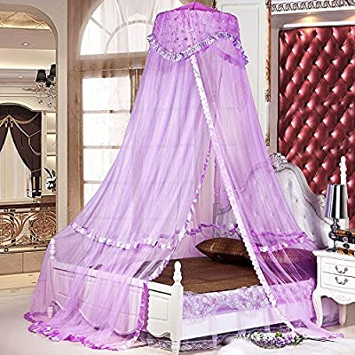 RuiHome Round Lace Princess Bed Canopy Bedroom Mosquito Netting Indoor Outdoor Use