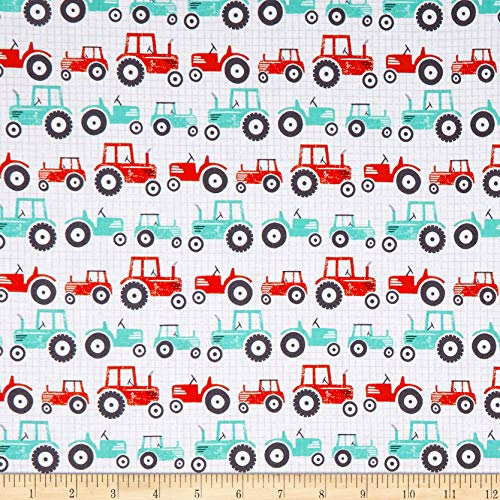 Studio E Fabrics Wildflower Farm Tractors Fabric, White, Fabric By The Yard