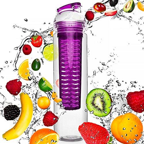 800ml Trinkflasche »FruitBottle« für Fruchtschorlen / Gemüseschorlen in den Farben Grün, Lila, Blau und Rot. Perfekte Sportflasche aus spülmaschinenfesten Tritan-Material mit extra-easy Trinkverschluss / lila