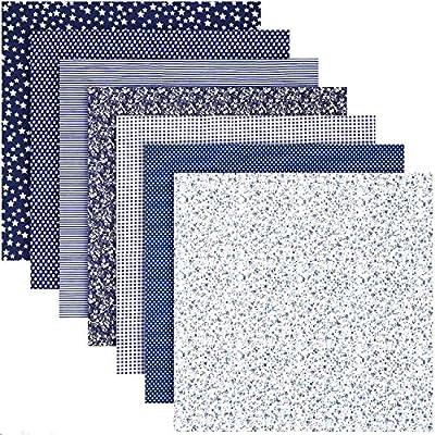 ZWOOS Telas para manualidades, 7 piezas 50cm x 50cm Tela de algodón Paquete de tela,Tela Patchwork de Algodon Impresa Llana de Floral pequena Tela del Algodon para Manualidades, Costura, DIY, Azul: Amazon.es: