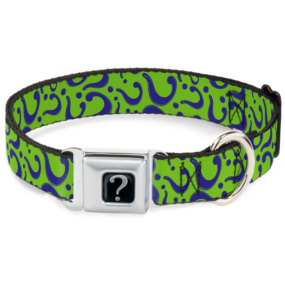 L Fits 15-26\ Buckle-Down Seatbelt Buckle Dog Collar Question Mark Scattered Lime Green Purple 1  Wide Fits 15-26  Neck Large