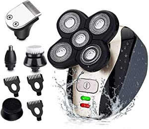 Electric Razor for Men, MANLI 5 in 1 Hair Razor for a Perfect Bald Look, Waterproof Faster-Charging Electric Shaver & Grooming Kit with Five-Headed Beard,Cordless and USB Rechargeable