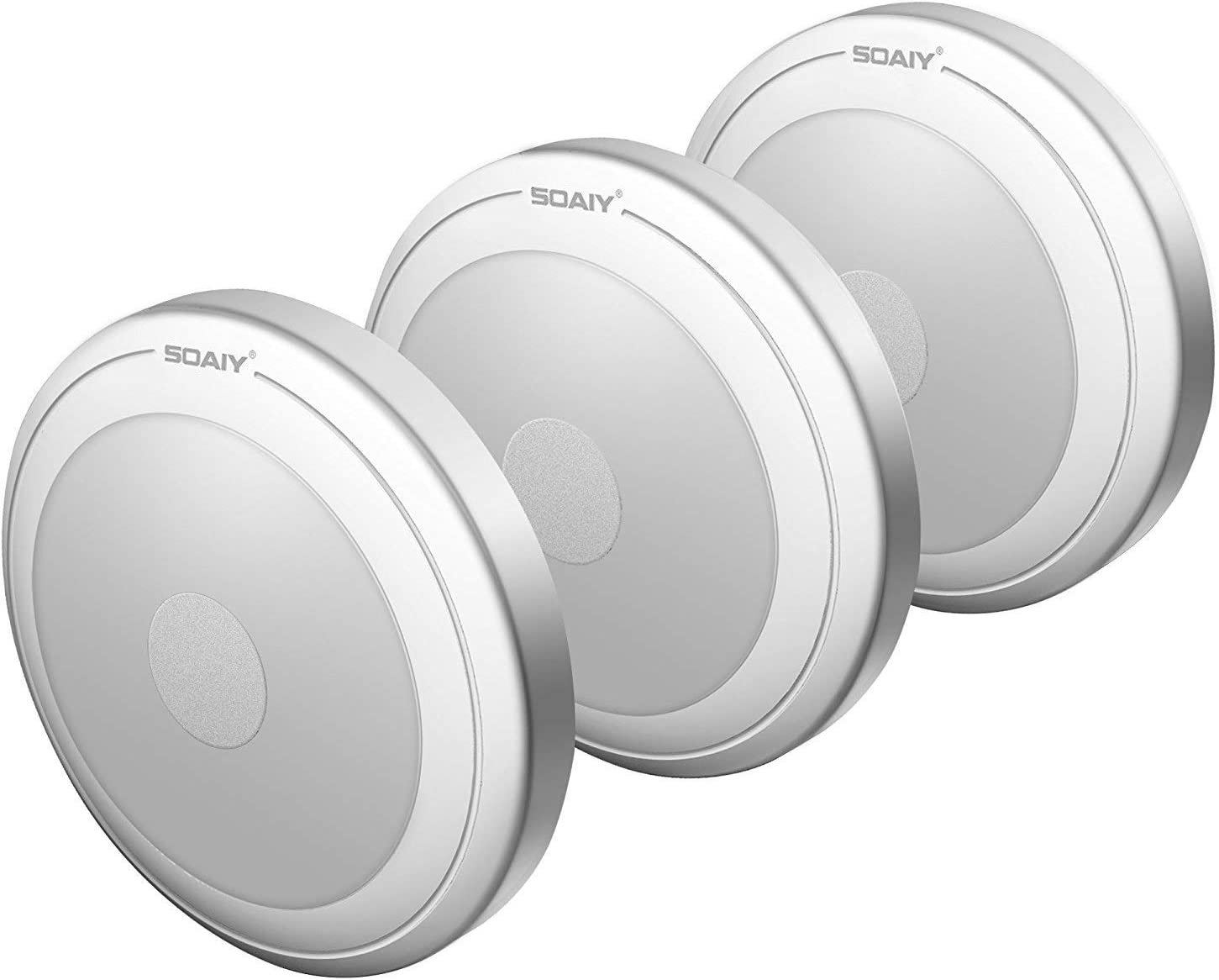 [Versión Mejorada] SOAIY - 3 PCS Luz LED Nocturna con Pilas, Lámpara con Sensor al Tacto para Armario, Habitación, Pasillos, Escaleras, Coche [Clase de eficiencia energética A++]