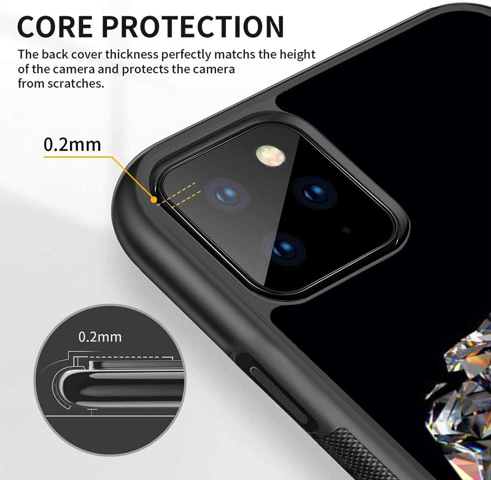 iPhone 11 Pro Case with Heart-Shaped Diamond Pattern Customized Design Bumper Soft TPU and PC Protection Anti-Slippery Personalized Custom Case for iPhone 11 Pro